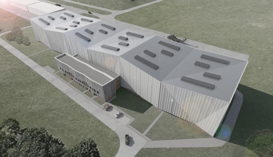 Projektbild 1, Neubau einer Halle für Luftfahrzeuge     Flugplatz Holzdorf