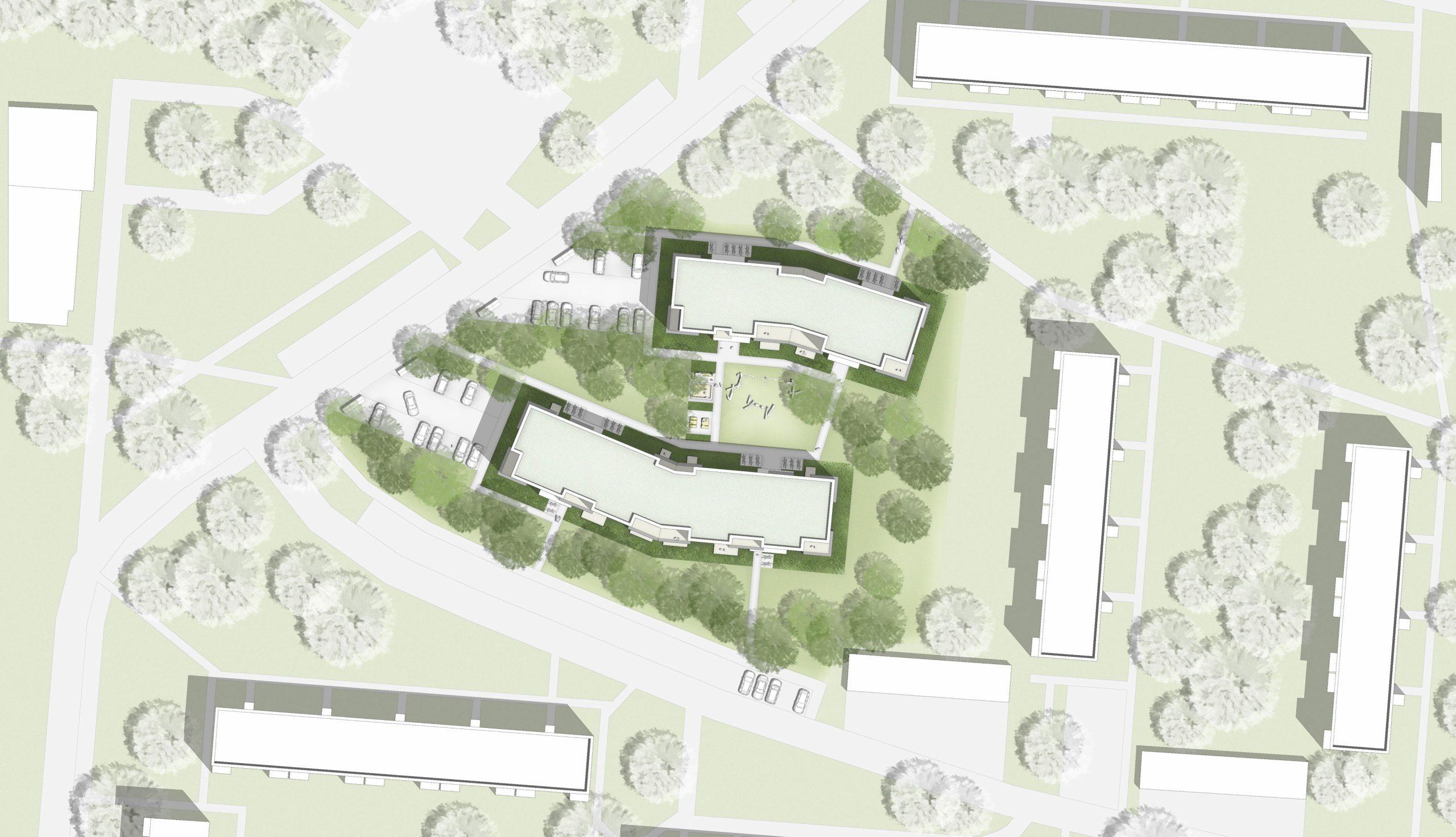 Projektbild 1, Neubau eines Wohnquartiers mit 50 Wohneinheiten   |   Rostock – Südstadt